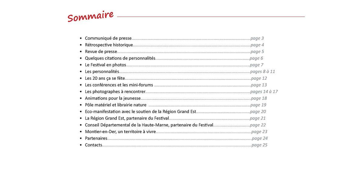 Dossier de Presse 2016 - Montier Festival Photo - Le sommaire