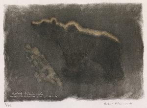 Ours éclairé par un rayon de lune, flairant, Bulgarie, 1938 - Robert Hainard