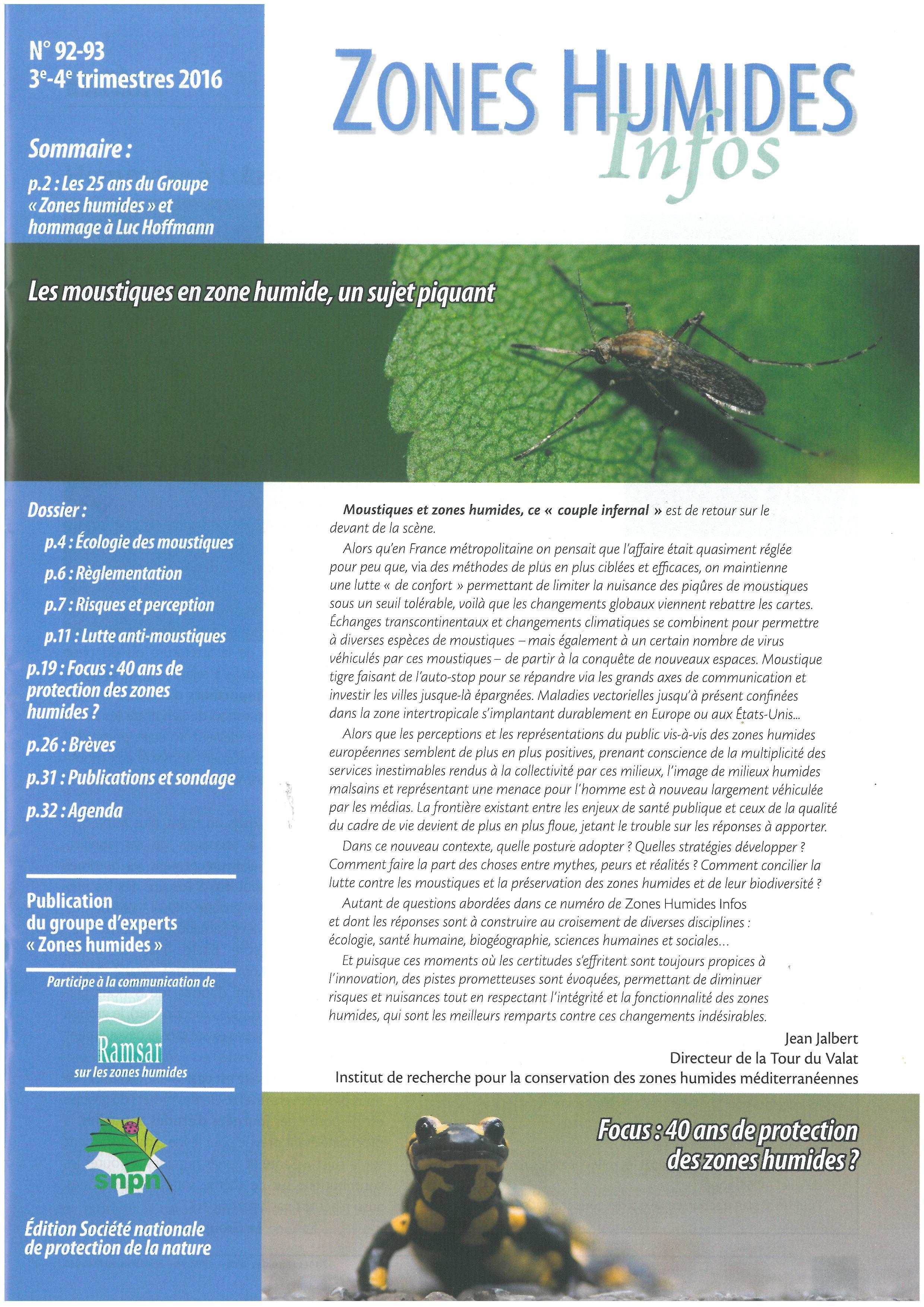 Zones Humides Infos n°92-93. Les moustiques en zone humide, un sujet piquant